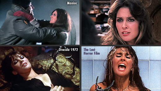 Caroline Munro in Dracula AD 1972 (1972), Captain Kronos - Vampire Hunter (1974), Maniac (1980), The Last Horror Film (1982) and Faceless (1988)