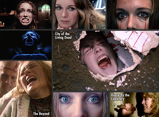 Catriona MacColl in City of the Living Dead (1980), The Beyond (1981) and House By the Cemetery (1981)
