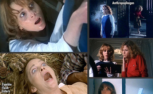 Tisa Farrow in Lucio Fulci's Zombie (1979) and Joe D'Amato's Anthropophagous (1980)