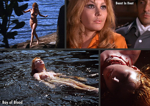 Brigitte Skay in Mario Bava's Bay of Blood (1971) and the Nazi exploitation classic SS Hell Camp (1977)