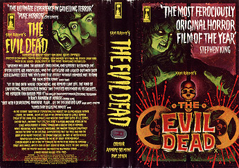 The front cover for the UK Evil Dead VHS release from Palace Video